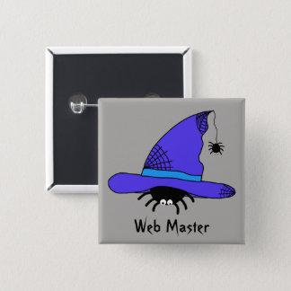 Badge Carré 5 Cm Maître pourpre de Web de Halloween de casquette de