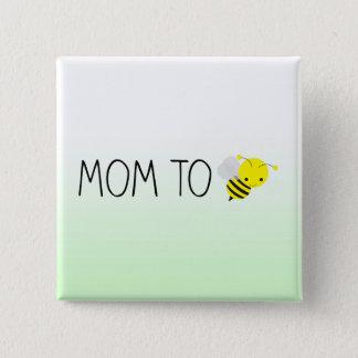 Badge Carré 5 Cm Maman à être, vert de bourdon/jaune mignons