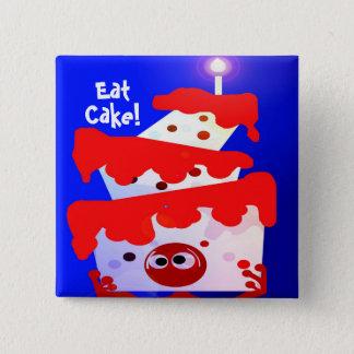 Badge Carré 5 Cm Mangez le gâteau