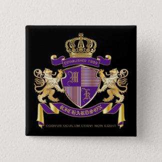 Badge Carré 5 Cm Manteau de bouclier d'or de lion d'emblème de