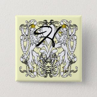 Badge Carré 5 Cm Mariage effréné de la Renaissance de lion