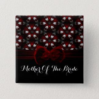 Badge Carré 5 Cm Mariage gothique de nuit foncée rouge et noire
