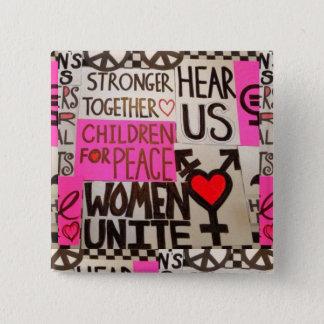 """Badge Carré 5 Cm Mars des femmes continue, Pin (2"""" le carré)"""