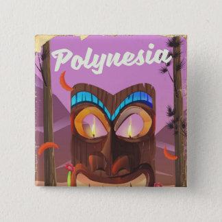 Badge Carré 5 Cm Masque de Polynésie Tiki