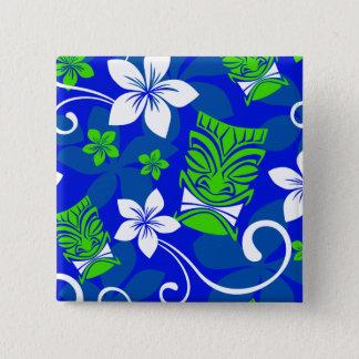Badge Carré 5 Cm Masques floraux de Tiki d'île bleue