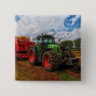 Badge Carré 5 Cm Mélangeur vert de tracteur et de grain