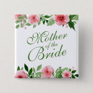 Badge Carré 5 Cm Mère de la jeune mariée épousant le bouton de Pin