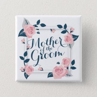 Badge Carré 5 Cm Mère de l'aquarelle de jeune mariée épousant le