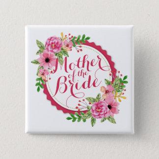 Badge Carré 5 Cm Mère du bouton de Pin d'aquarelle de jeune mariée