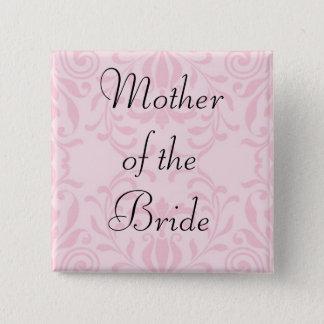 Badge Carré 5 Cm Mère du bouton de rose de jeune mariée