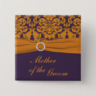 Badge Carré 5 Cm Mère pourpre et orange de damassé du Pin de marié