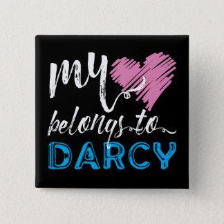 Badge Carré 5 Cm Mon [coeur] appartient à Darcy - Jane Austen