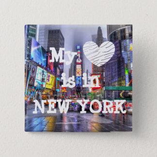 Badge Carré 5 Cm Mon coeur est dans le bouton de New York