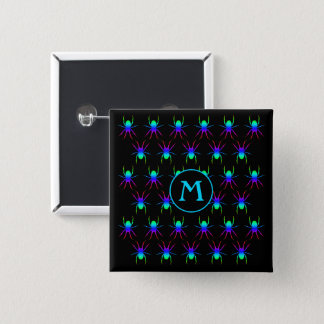 Badge Carré 5 Cm Monogramme d'araignées d'arc-en-ciel sur le noir