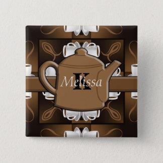 Badge Carré 5 Cm Monogramme de mosaïque de café de café de café
