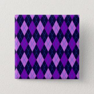 Badge Carré 5 Cm Motif à motifs de losanges pourpre bleu