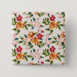 Badge Carré 5 Cm Motif de fleurs vintage élégant d'aquarelle