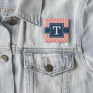 Badge Carré 5 Cm Motif décoré d'un monogramme de trellis de rose de