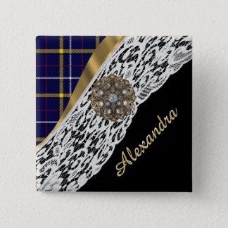 Badge Carré 5 Cm Motif écossais bleu de plaid de tartan et dentelle