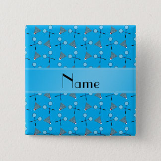 Badge Carré 5 Cm Motif nommé personnalisé de badminton de bleu de