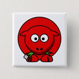 Badge Carré 5 Cm Moutons rouges