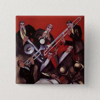 Badge Carré 5 Cm Musique vintage, bloquer musical de jazz-band