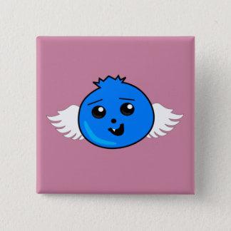 Badge Carré 5 Cm Myrtille heureuse volante