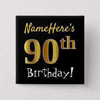 Badge Carré 5 Cm Noircissez, anniversaire d'or de Faux le
