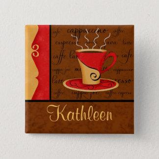 Badge Carré 5 Cm Nom rouge-brun de coutume d'art de café de café
