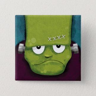 Badge Carré 5 Cm Nouveauté grincheuse de Frankenstein | Halloween