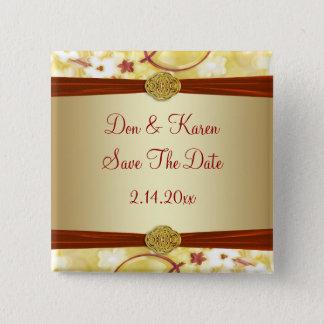 Badge Carré 5 Cm Or crème et économies florales rouges la date