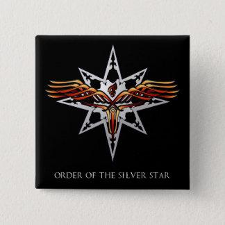 Badge Carré 5 Cm Ordre du bouton argenté d'étoile