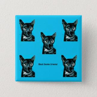 Badge Carré 5 Cm ~ oriental de chat de fumée de noir de ~ de ~Asia