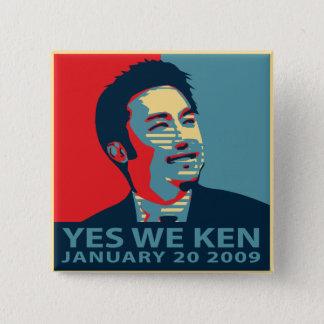 Badge Carré 5 Cm Oui nous bouton de Ken (Obama)