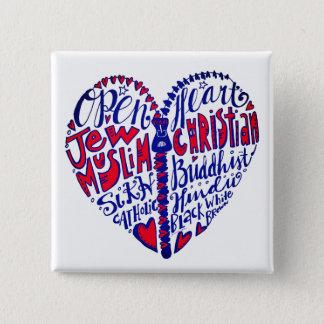 Badge Carré 5 Cm Ouvrez votre coeur à toutes les personnes