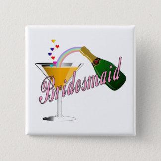 Badge Carré 5 Cm Pain grillé de Champagne de demoiselle d'honneur