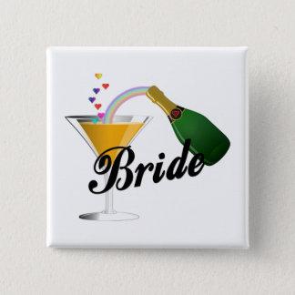 Badge Carré 5 Cm Pain grillé de Champagne de jeunes mariées