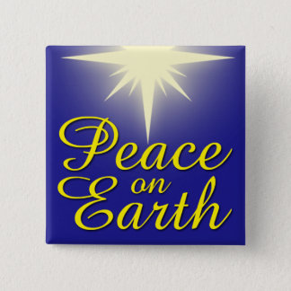 Badge Carré 5 Cm Paix sur le bouton de vacances d'étoile de Noël de