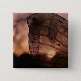 Badge Carré 5 Cm Papillon avec le coucher du soleil par Shirley