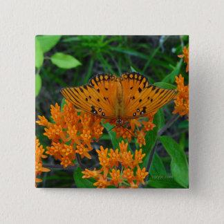 Badge Carré 5 Cm Papillon de changement, d'encouragement et de
