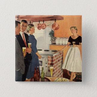 Badge Carré 5 Cm Partie vintage dans la cuisine, la bière et les