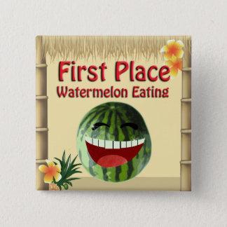 Badge Carré 5 Cm Pastèque tropicale d'endroit de la hutte 1 de Tiki
