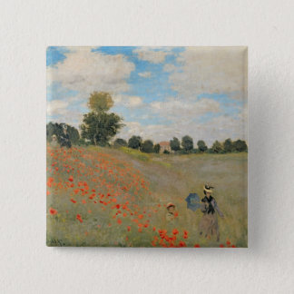 Badge Carré 5 Cm Pavots sauvages de Claude Monet |, près