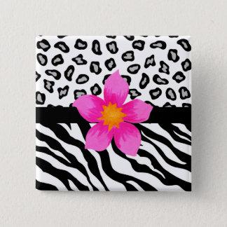 Badge Carré 5 Cm Peau noire et blanche de zèbre et de guépard et