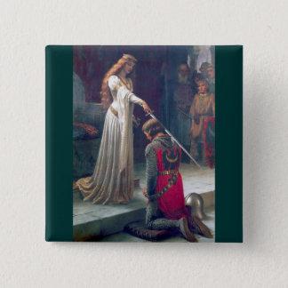Badge Carré 5 Cm Peinture antique adoubante de chevalier de reine