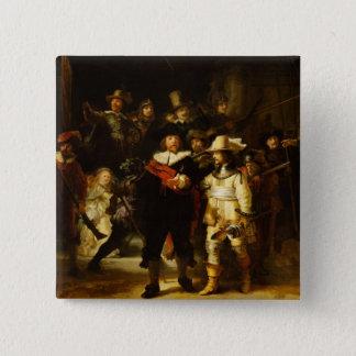 Badge Carré 5 Cm Peinture baroque de montre de nuit de Rembrandt