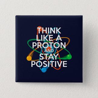 Badge Carré 5 Cm Pensez comme un proton et restez positif