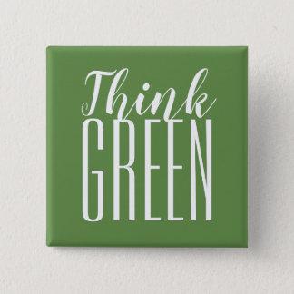 Badge Carré 5 Cm Pensez le pro bouton vert de citation