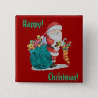 Badge Carré 5 Cm père Noël avec des jouets et des cadeaux de Noël d