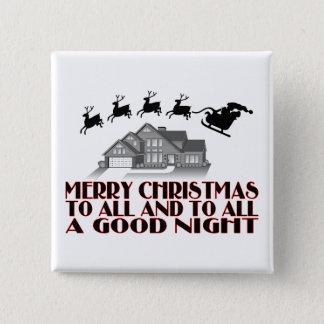 Badge Carré 5 Cm Père Noël volant au-dessus nuit de Noël de Chambre
